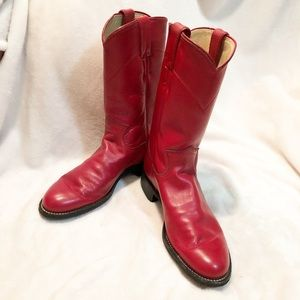Justin | Red kids roper leather cowboy boots